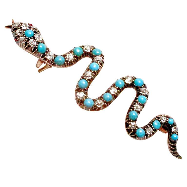 Antique Turquoise Diamond Gold Serpent Pin