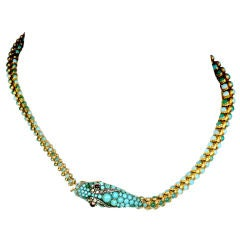 Victorian Turquoise Snake Necklace