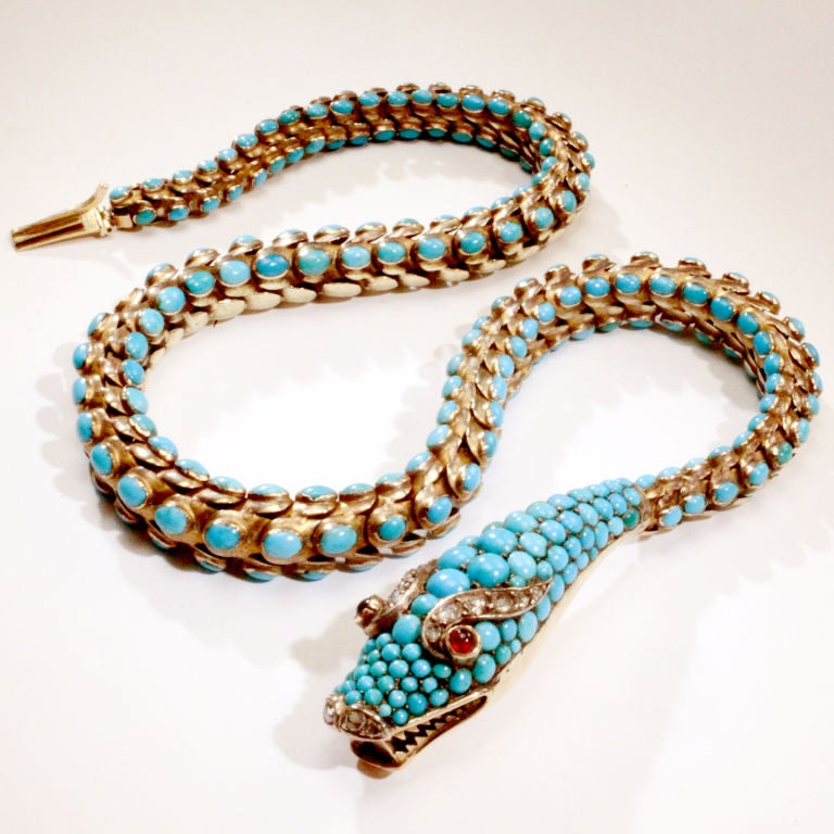 Victorian Turquoise Snake Necklace For Sale At 1stdibs