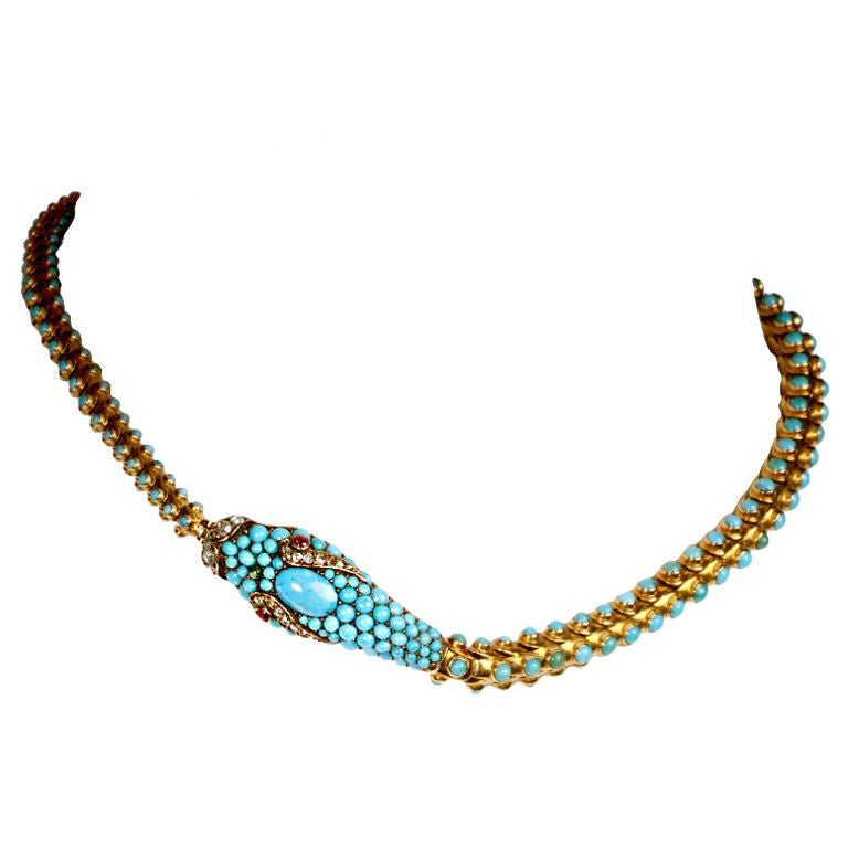 Victorian Turquoise Snake Necklace For Sale