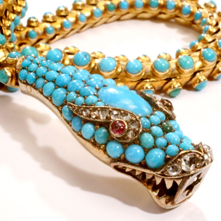 Women's Victorian Turquoise Snake Necklace For Sale