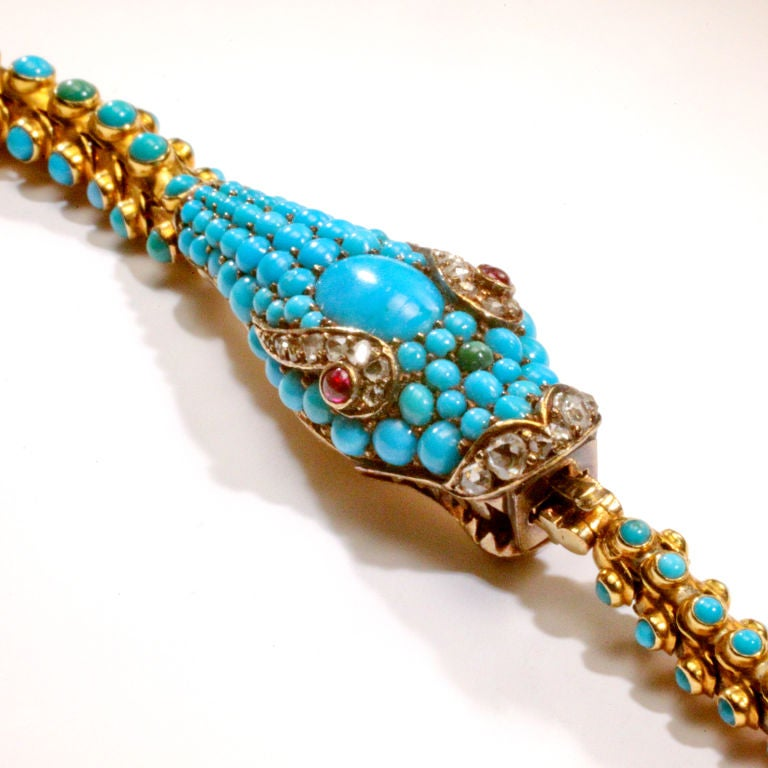 Victorian Turquoise Snake Necklace For Sale 1