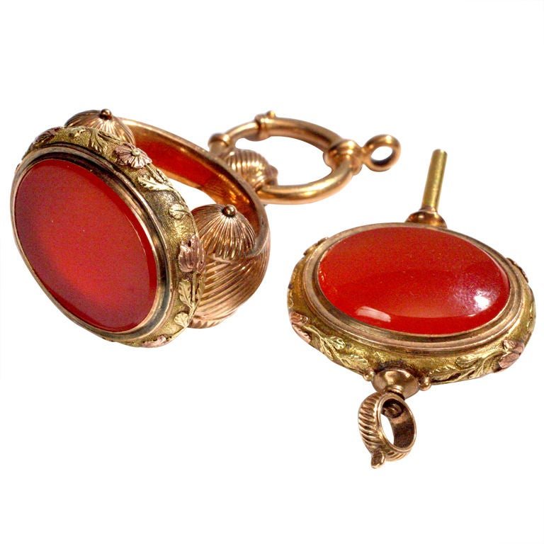Carnelian Watch Fob Set For Sale
