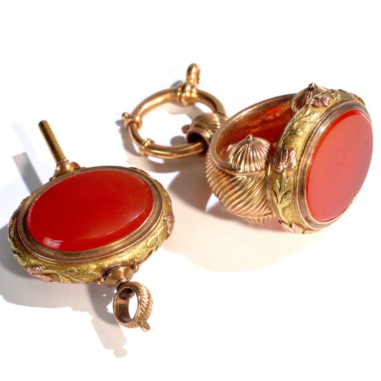 Victorian Carnelian Watch Fob Set For Sale