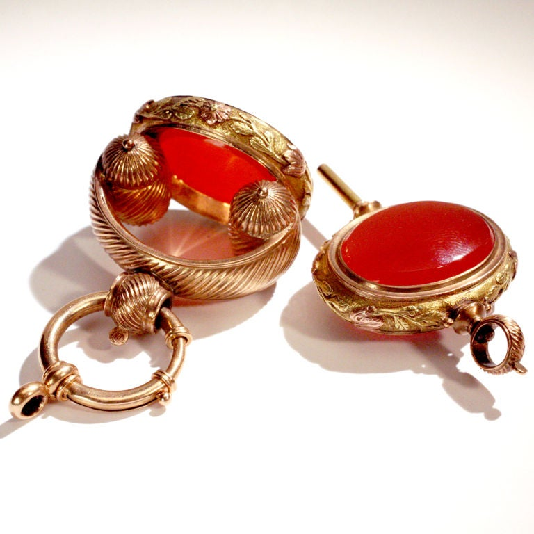 Women's or Men's Carnelian Watch Fob Set For Sale