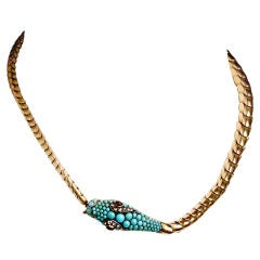 Gold and Turquoise Snake Necklace