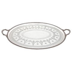 Antique English, Large Oval Sterling Silver 2 Handled Tray By Elkington & Co.