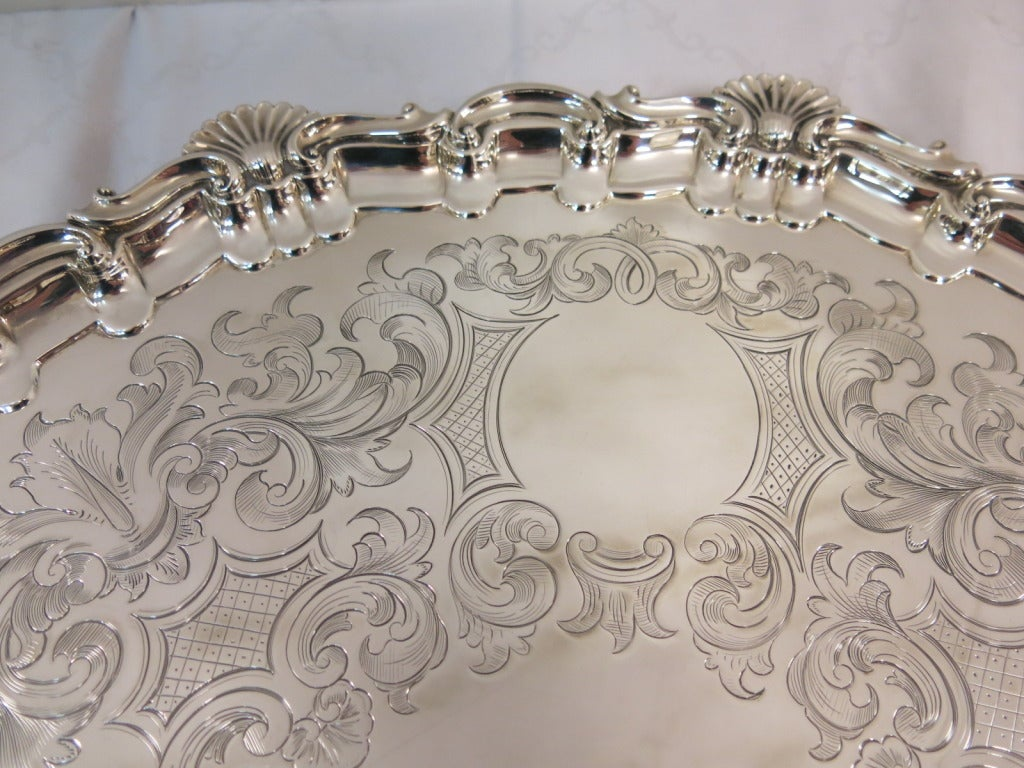 21 Quot Large Round Antique Sterling Silver Footed Tray