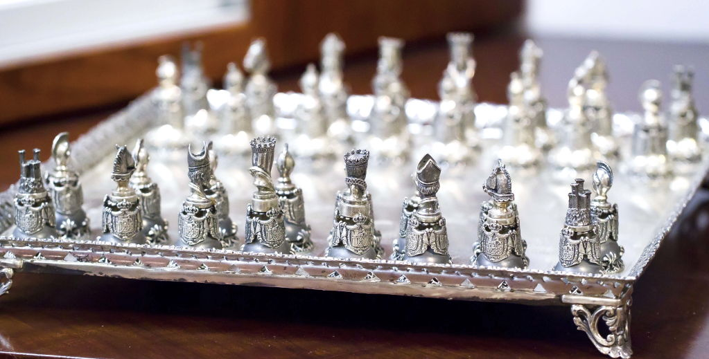 Sterling Silver Chess Set And Chess Board At 1stdibs