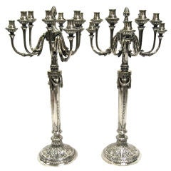 Magnificent & Impressive, Large Pr Of Antique Silver Candelabra