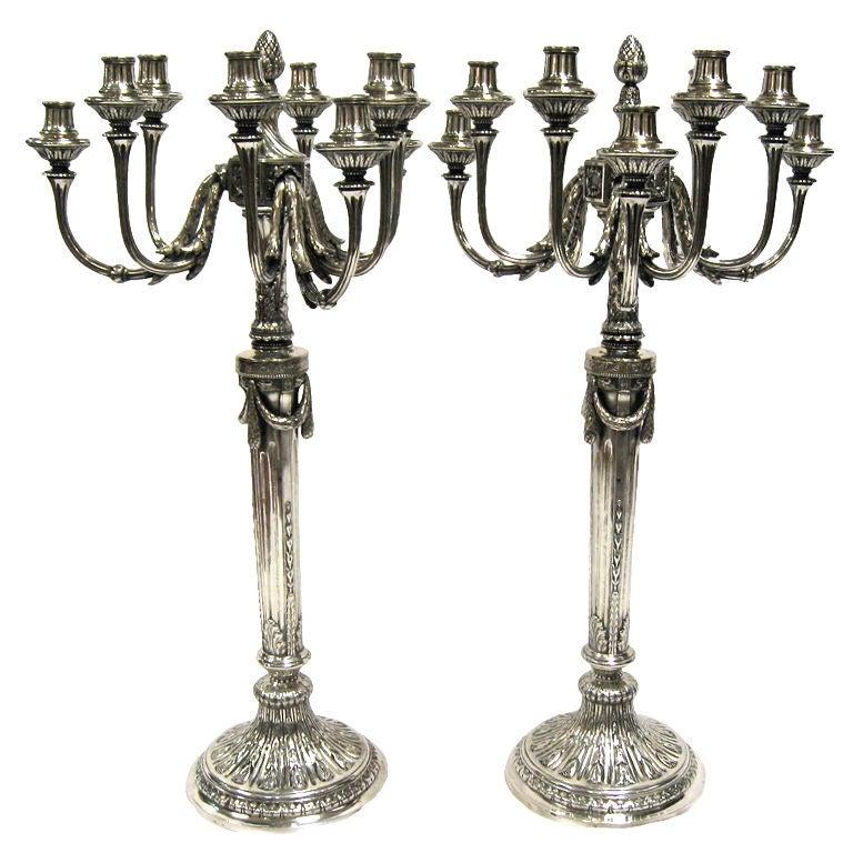 Magnificent & Impressive, Large Pr Of Antique Silver Candelabra