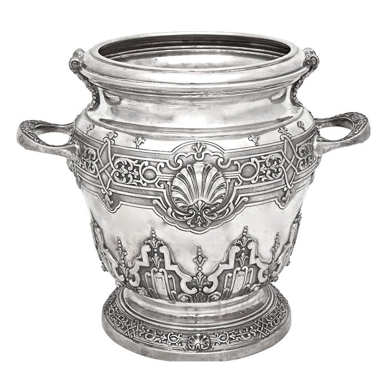 Large Italian Sterling Silver Champagne Bucket At 1stdibs