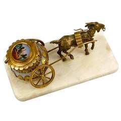 Antique French Opaline Palais Royal Jewelry Casket, Goat Cart