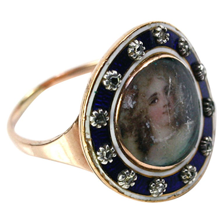 antique georgian gold portrait miniature ring framed in