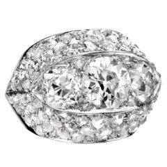Suzanne Belperron A Diamond Platinum Bombe Ring