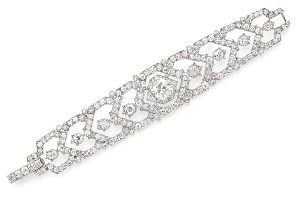 Women's CARTIER An Art Deco Diamond Platinum Bracelet For Sale