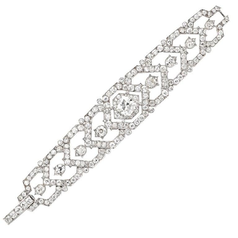 CARTIER An Art Deco Diamond Platinum Bracelet For Sale