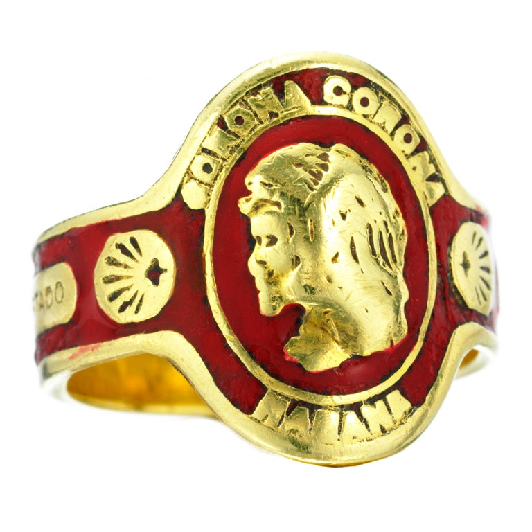 Cartier An Enamel And Gold Cigar Band Ring At 1stdibs