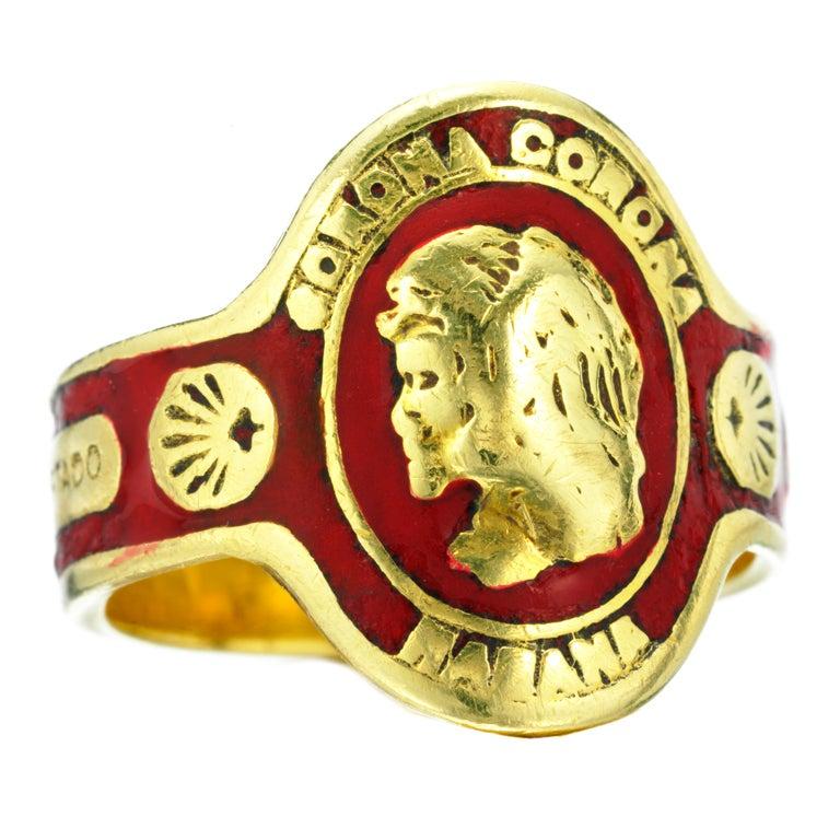 cartier an enamel and gold cigar band ring at 1stdibs