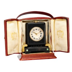 CARTIER An Art Deco Keyless Minute Repeating Desk Clock