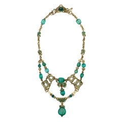 MARCUS & CO. An Antique Emerald, Enamel and Gold Necklace