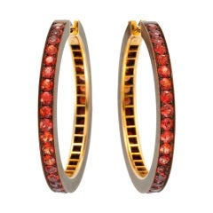 HEMMERLE A Pair of Orange Sapphire Hoop Earrings