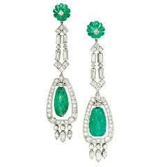 A Pair of Art Deco Emerald and Diamond Ear Pendants