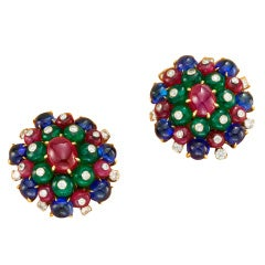 BULGARI A Pair of Emerald, Sapphire, Ruby and Diamond Ear Clips