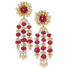VAN CLEEF & ARPELS A Pair of Ruby and Diamond Ear Pendants