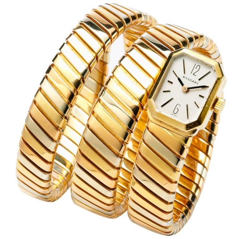 Bulgari A Lady S Tricolored Gold Tubogas Snake Bracelet
