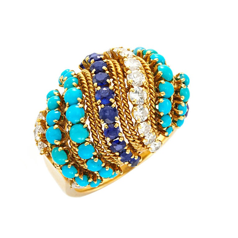 van cleef and arpels a sapphire turquoise ring at 1stdibs