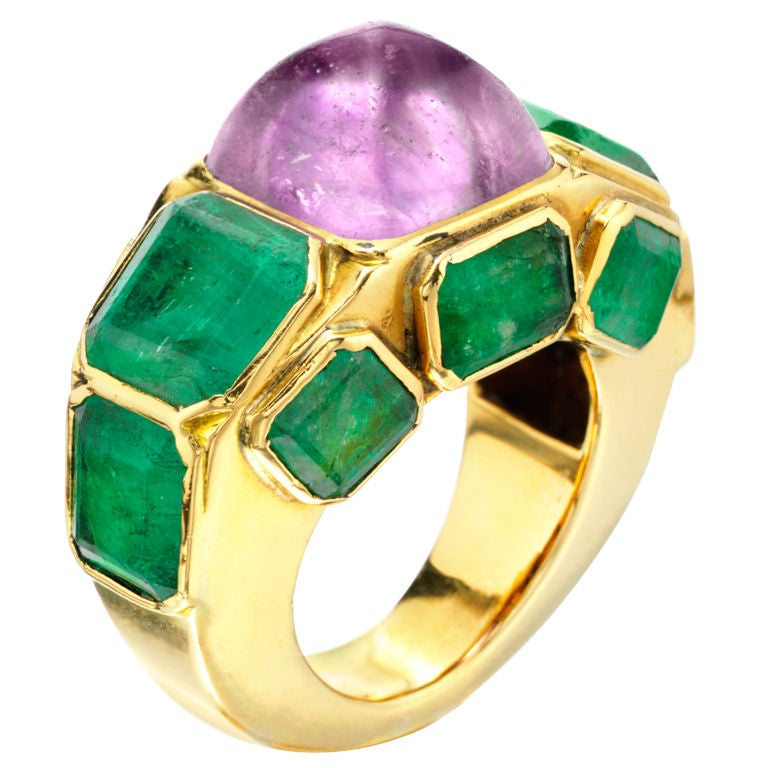 chanel amethyst emerald and gold ring