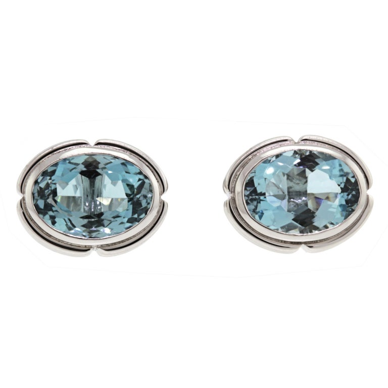 white gold cufflinks set with aquamarine at 1stdibs