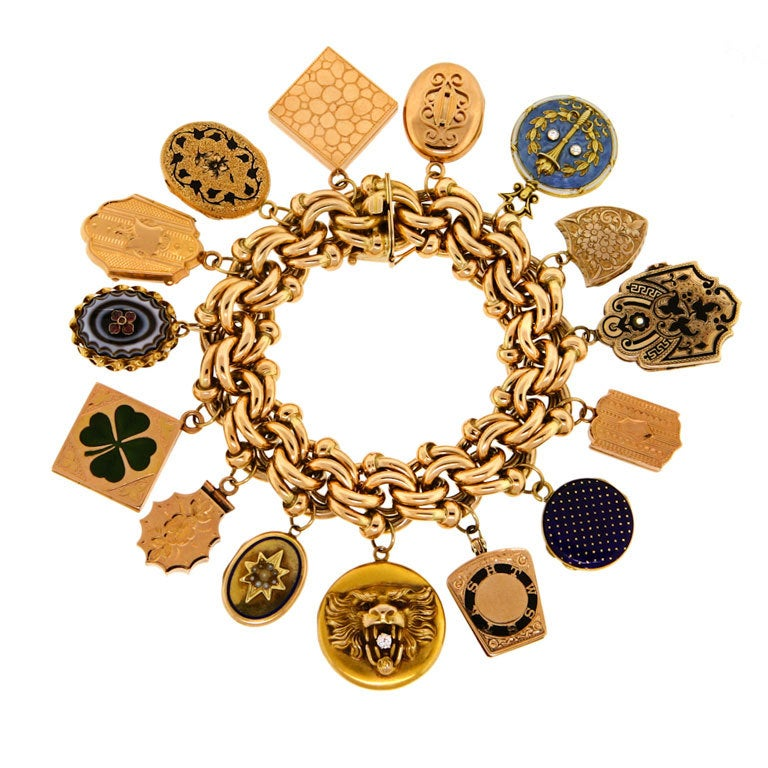 charm bracelet featuring period lockets at 1stdibs
