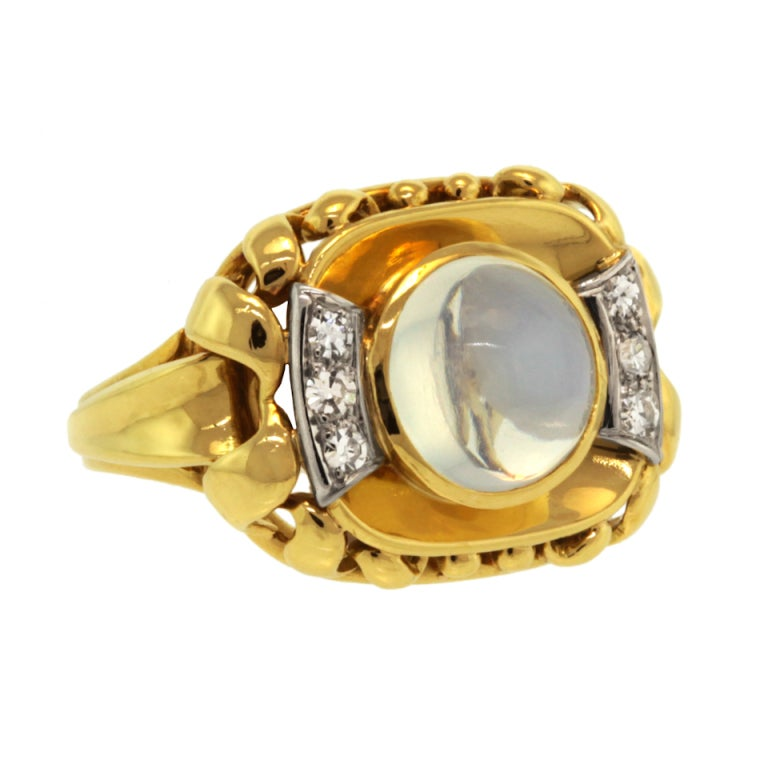 meister moonstone gold ring c1950s at 1stdibs