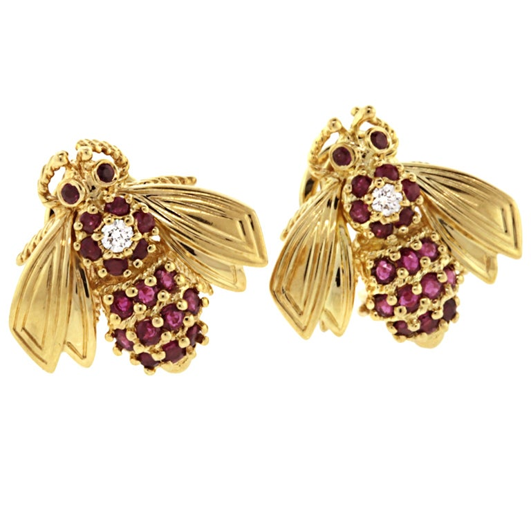 Tiffany And Co Diamond And Ruby Bee Earrings At 1stdibs