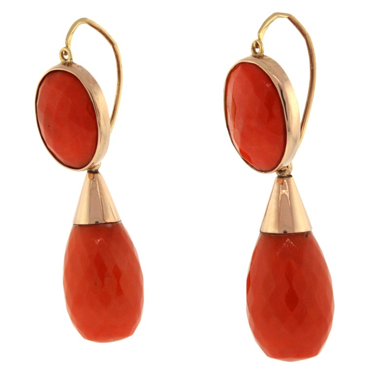 antique faceted coral dangle earrings at 1stdibs