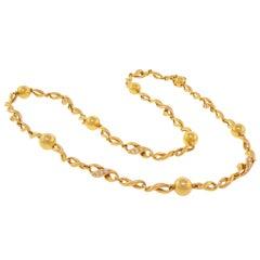 MARCHAK Matinée Length Gold and Diamond Necklace