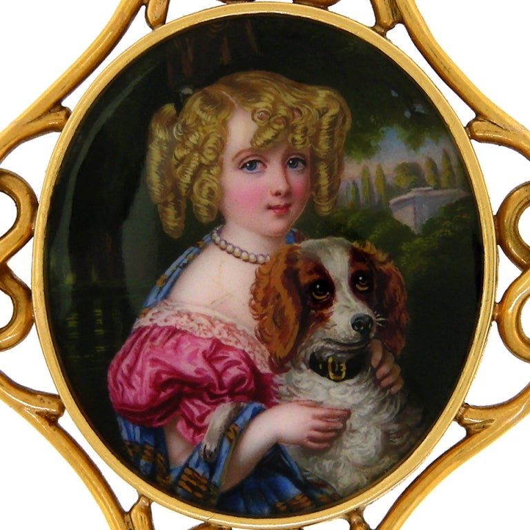 Antique Enamel Portrait Brooch of a Girl with her Dog In Excellent Condition In Litchfield, CT