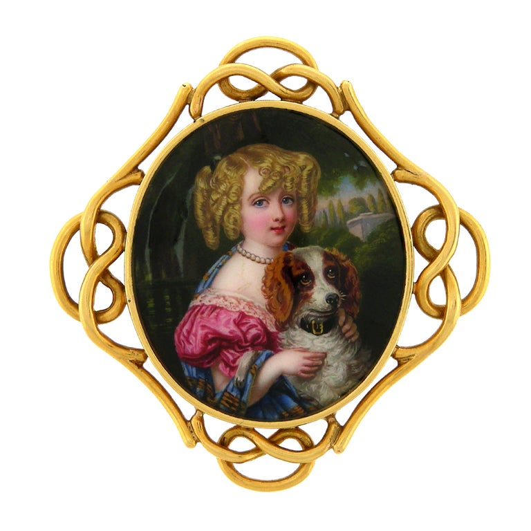 Antique Enamel Portrait Brooch of a Girl with her Dog