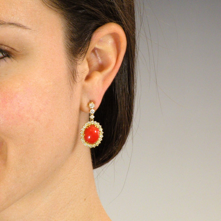 Coral and Diamond Dangle Earrings 2