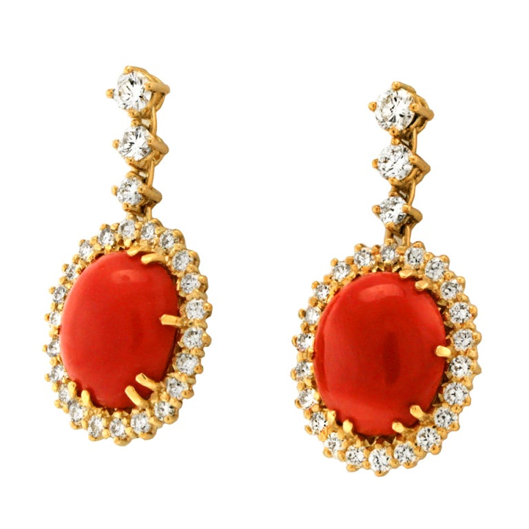 Coral and Diamond Dangle Earrings 3