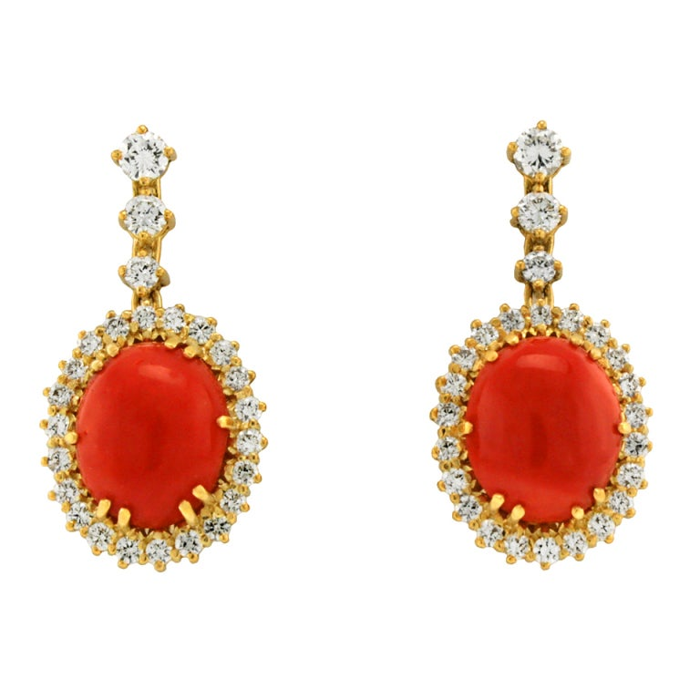 Coral and Diamond Dangle Earrings 7