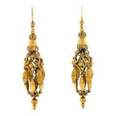 Antique Gold Plate Dangle Earrings
