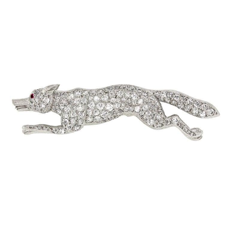 Diamond Pave Fox Brooch