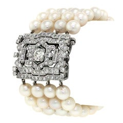 Art Deco Pearl Diamond Bracelet