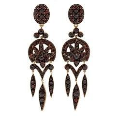 Bohemian Garnet Dangle Earrings