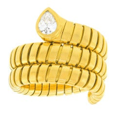 Bulgari Tubogas Diamond-Set Snake Ring
