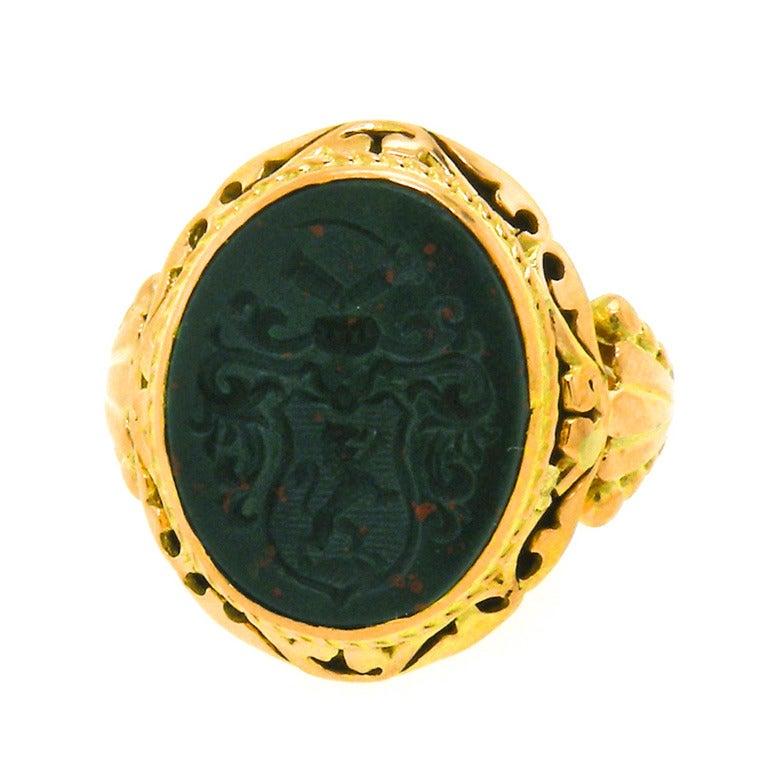 antique bloodstone intaglio signet ring at 1stdibs