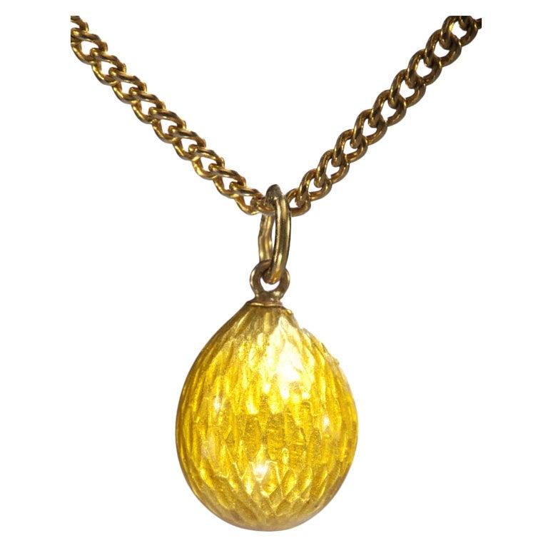 Russian Enameled Easter Egg Pendant c1900 For Sale
